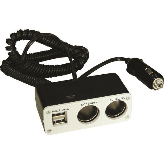 Socket - Twin, with USB, 8A, , scaau_hi-res