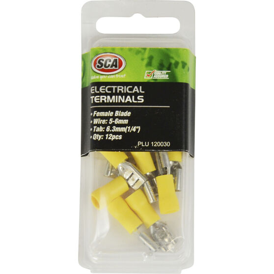 SCA Electrical Terminals - Female Blade, Yellow, 6.3mm, 12 Pack, , scaau_hi-res