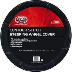 SCA Steering Wheel Cover - Contour Stitch, Black, 380mm diameter, , scaau_hi-res