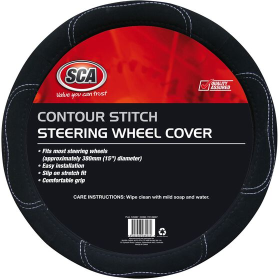 SCA Steering Wheel Cover - Contour Stitch, Black, 380mm diameter, , scaau_hi-res