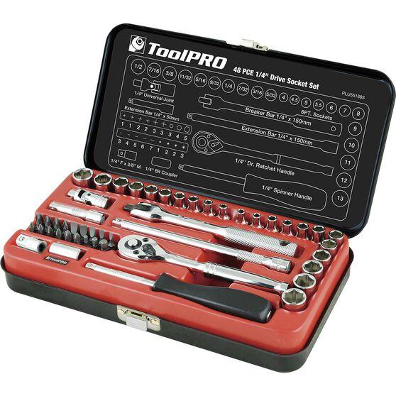 "ToolPRO Socket Set - 1/4"" Drive, Metric & Imperial, 48 Piece, , scaau_hi-res"