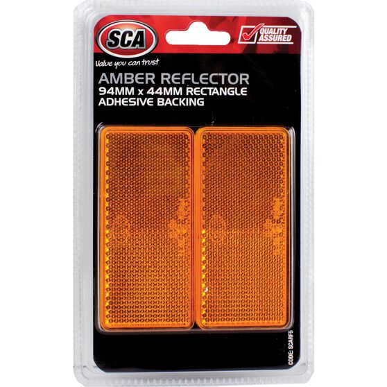 SCA Reflector - Amber, 94 x 44mm, Rectangle, 2 Pack, , scaau_hi-res