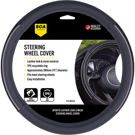 SCA Steering Wheel Cover - PU And Mesh, Black / Grey, 380mm Diameter, , scaau_hi-res