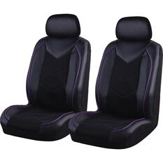 SCA Sports Leather Look and Mesh Seat Covers - Black and Purple, Adjustable Headrests, Airbag Compatible, , scaau_hi-res