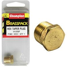 Champion Hex Taper Plug - 1 / 4inch, Brass, , scaau_hi-res
