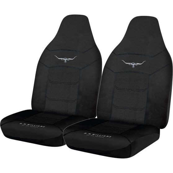 R.M.Williams Woven Seat Covers - Black Built-in Headrests Size 60 Front Pair Airbag Compatible, , scaau_hi-res