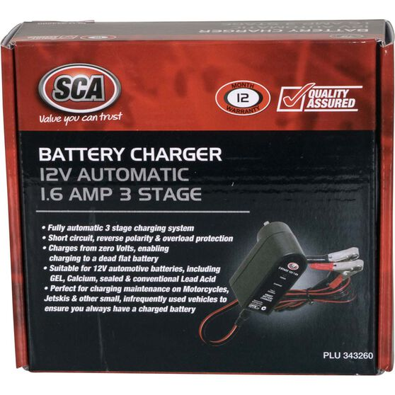 SCA Battery Charger - 3 Stage, 12V, 1.6 Amp, , scaau_hi-res