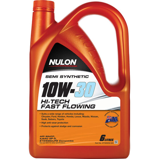 Nulon Semi Synthetic Hi-Tech Fast Flowing Engine Oil - 10W-30 6 Litre, , scaau_hi-res