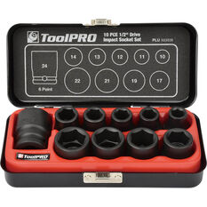 "ToolPRO Impact Socket Set 1/2"" Drive Metric 10 Piece, , scaau_hi-res"
