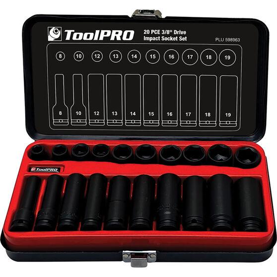 "ToolPRO Impact Socket Set 3/8"" Drive Metric 20 Piece, , scaau_hi-res"