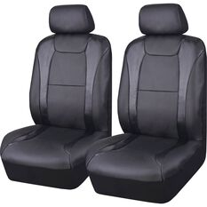 SCA Leather Look Seat Covers - Black / Carbon, Adjustable Headrests, Size 30, Front Pair, Airbag Compatible, , scaau_hi-res