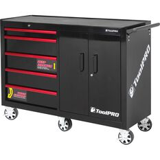 ToolPRO Tool Cabinet, 5 Drawer, Roller - Black, 52 inch, , scaau_hi-res