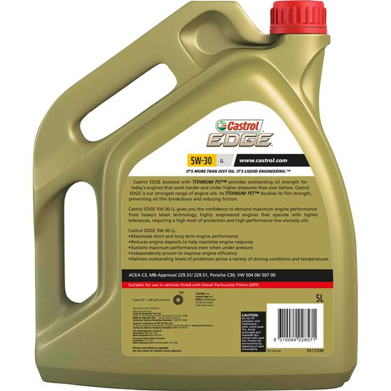 Castrol EDGE Engine Oil 5W-30 LL 5 Litre, , scaau_hi-res