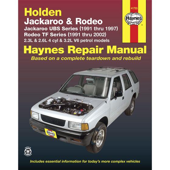Haynes Car Manual For Holden Jackaroo / Rodeo 1991-2002 - 41753, , scaau_hi-res