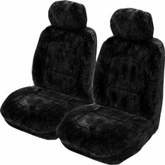 Platinum Cloud Sheepskin Seat Covers - Bamboo, Adjustable Headrests, Size 30, Front Pair, Airbag Compatible, Black, scaau_hi-res