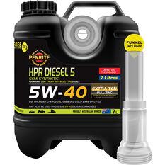 Penrite HPR Diesel 5 Engine Oil 5W-40 7 Litre, , scaau_hi-res