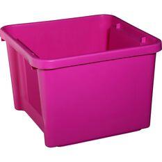Plastic Storage Bin - Pink, 30 Litre, , scaau_hi-res