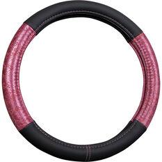 SCA Steering Wheel Cover - Animal Panels, Black/Pink, 380mm diameter, , scaau_hi-res