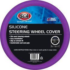 Steering Wheel Cover - Silicone, Purple, 380mm, , scaau_hi-res