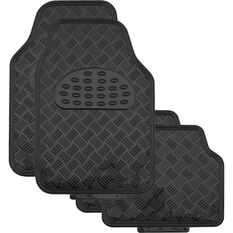 SCA Checkerplate Car Floor Mats - PVC, Black, Set of 4, , scaau_hi-res