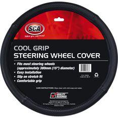 Steering Wheel Cover - Cool Grip, Black, 380mm diameter, , scaau_hi-res