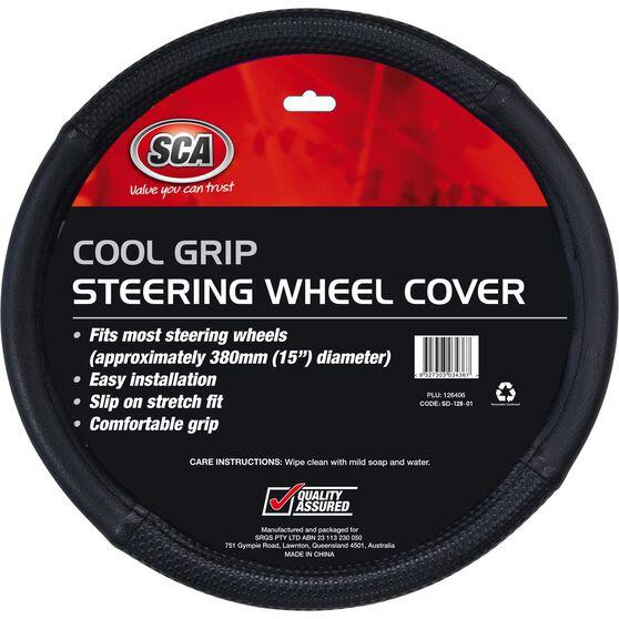 SCA Steering Wheel Cover - Cool Grip, Black, 380mm diameter, , scaau_hi-res