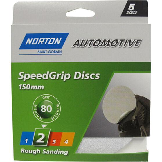 Norton Speed Grip Disc 80 Grit 150mm 5 Pack, , scaau_hi-res