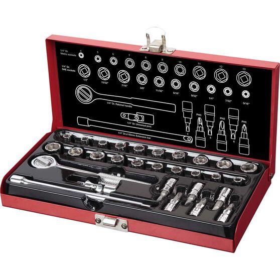 "SCA Socket Set - 1/4"" Drive, Metal Tin, 30 Piece, , scaau_hi-res"