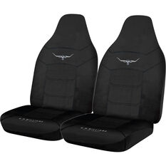 R.M.Williams Woven Seat Covers - Black, Built-in Headrests, Size 60, Front Pair, Airbag Compatible, , scaau_hi-res