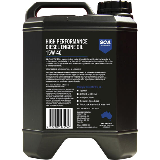 SCA High Performance Diesel Engine Oil 15W-40 10 Litre, , scaau_hi-res