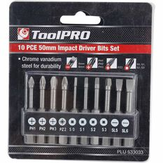 ToolPRO Impact Driver Bit Set 50mm 10 Piece, , scaau_hi-res