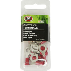 SCA Electrical Terminals - Ring (Eye), Red, 6.3mm, 16 Pack, , scaau_hi-res