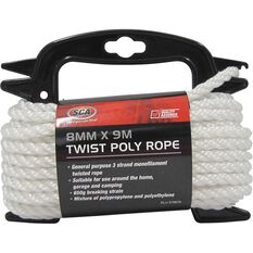 Twisted Poly Rope - White, 8mm x 9m, , scaau_hi-res