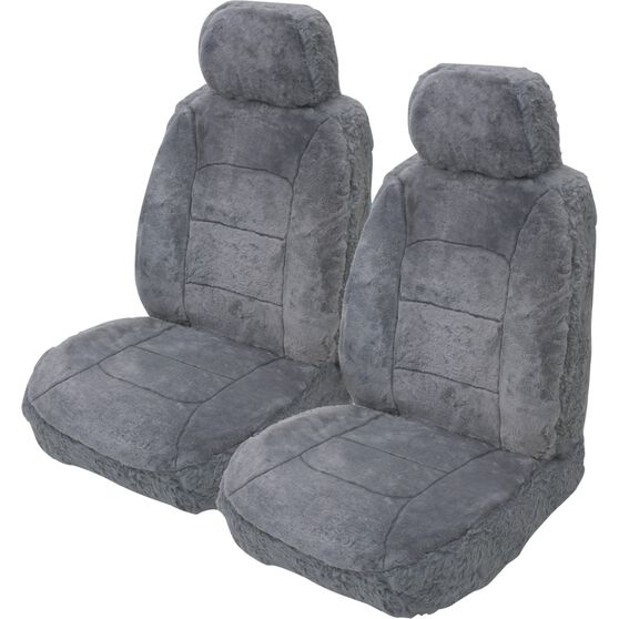 Silver Cloud Sheepskin Seat Covers - Grey Adjustable Headrests Size 30 Front Pair Airbag Compatible Grey, Grey, scaau_hi-res