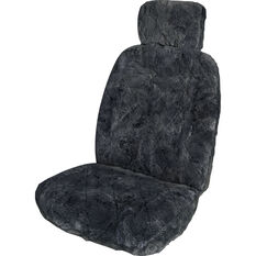 SCA Sheepskin Seat Cover - Charcoal, Adjustable Headrests, Size 30, Single, Airbag Compatible, , scaau_hi-res