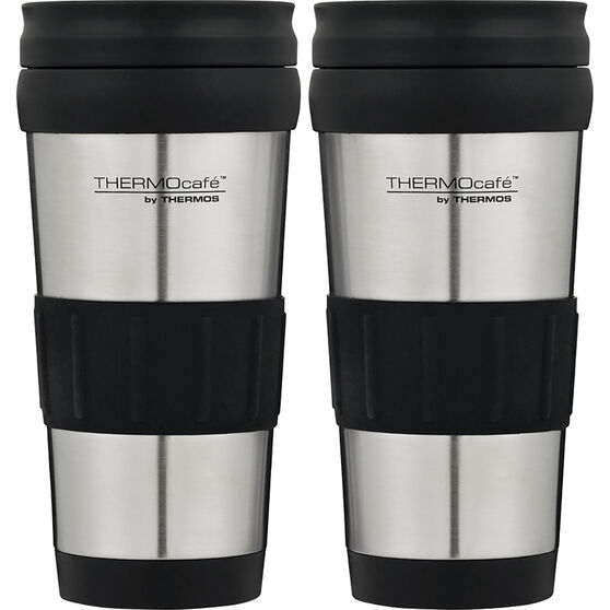 Thermocafe 420ml 2Pack Travel Mugs - Black, Stainless Steel, , scaau_hi-res