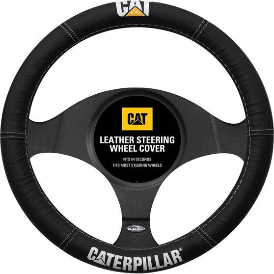 Caperpillar Steering Wheel Cover - Leather, Black, 380mm Diameter, , scaau_hi-res