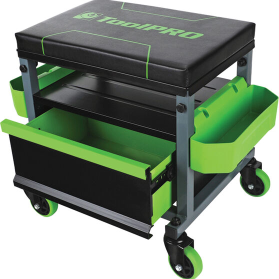ToolPRO Roller Seat - 1 Drawer, Black and Green, , scaau_hi-res