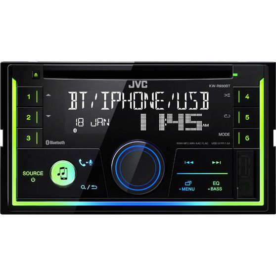 JVC Double Din CD / Digital Media Player with Bluetooth - KW-R930BT, , scaau_hi-res