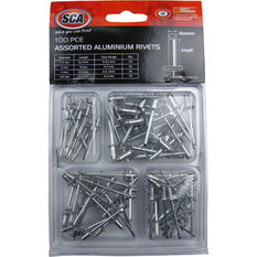 SCA Aluminium Rivets - Assorted, 100 Piece, , scaau_hi-res