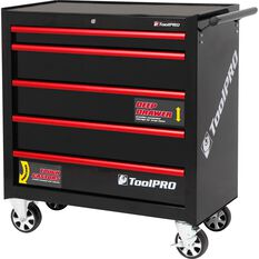 ToolPro Tool Cabinet, 5 Drawer, Roller Cabinet - Black, 36 inch, , scaau_hi-res