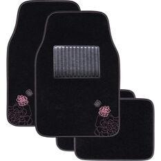 SCA Rose Floor Mats Carpet Black/Pink Set of 4, , scaau_hi-res