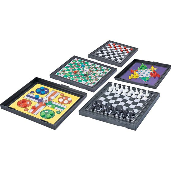 Travel Game - 5 in 1 Magnetic, Chess, Ludo, Snakes n Ladders, Checkers, , scaau_hi-res