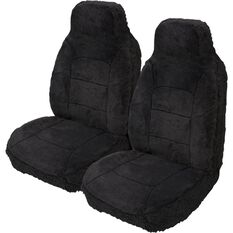 Silver Cloud Sheepskin Seat Covers - Black, Built-in Headrests, Size 60, Front Pair, Airbag Compatible, Black, scaau_hi-res