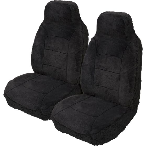 Silver Cloud Sheepskin Seat Covers - Black, Built-in Headrests, Size 60, Front Pair, Airbag Compatible Black, Black, scaau_hi-res