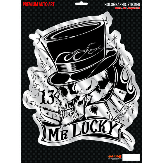 Hot Stuff Sticker - Mr Lucky, Large, Holographic, , scaau_hi-res