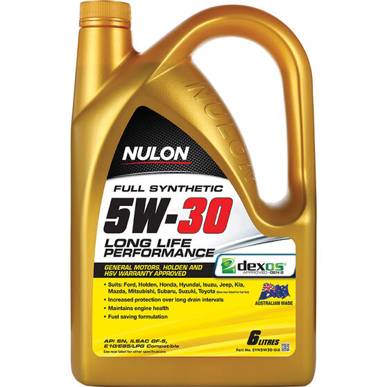 Nulon Full Synthetic Long Life Engine Oil 5W-30 6 Litre, , scaau_hi-res
