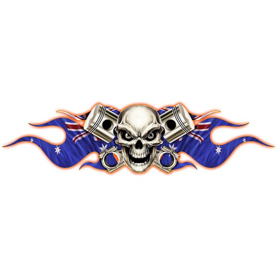 Hot Stuff Sticker - Skull Aussie Flags Medium, Vinyl, , scaau_hi-res