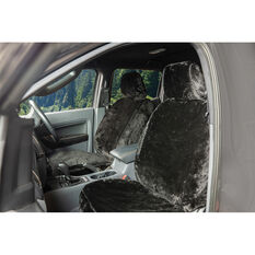 SCA Luxury Fur Seat Cover - Black Adjustable Headrests Size 30 Front Pair Airbag Compatible, , scaau_hi-res