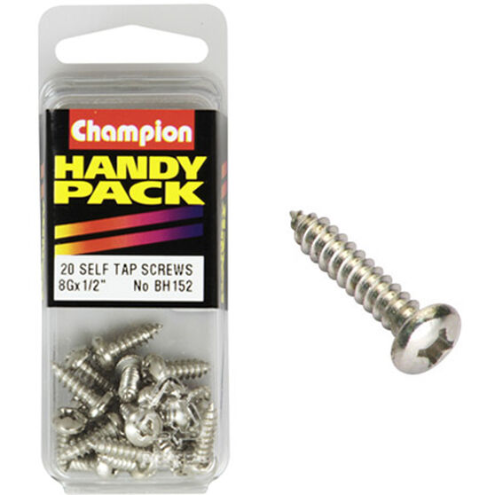 Champion Self Tapping Screws - 8G X 1 / 2inch, BH152, Handy Pack, , scaau_hi-res